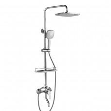 """Смеситель Rossinka RS29-46 для ванны и душа с регулируемой высотой штанги, поворотным изливом и лейкой """"Тропический дождь"""""""